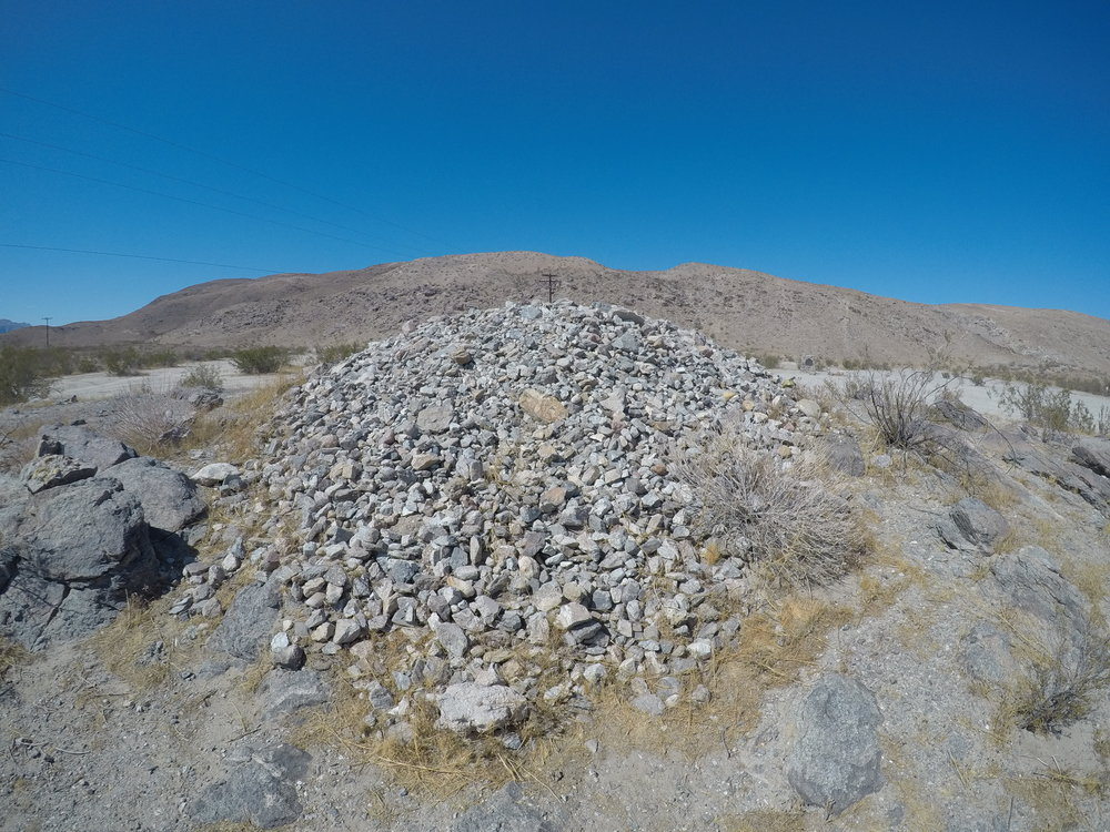 The modern day Pegleg Smith rock pile. Note: adding rocks does not provide any benefit as there is nothing - even in the Pegleg legend about such a pile or requirement.