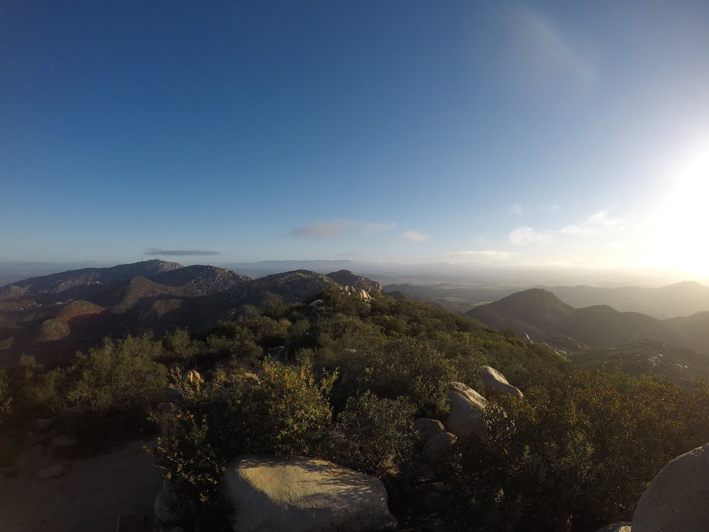 Near the summit, there are also great views to the North, including that of nearby Mount Woodson; and to the west.