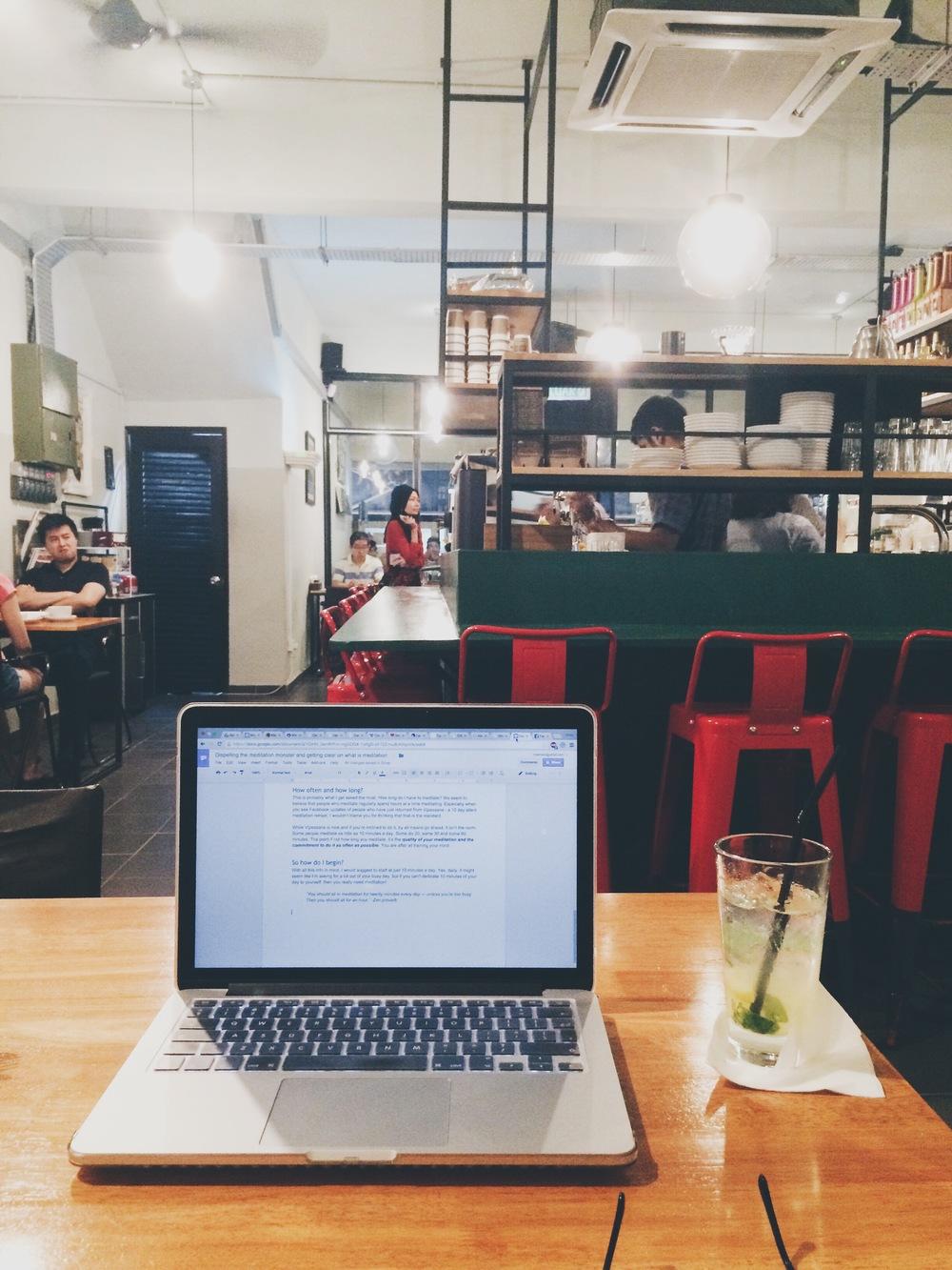 Make shift café writing spot, Kuala Lumpur, Malaysia