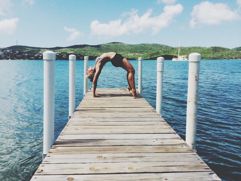 Urdhva Dhanurasana on a pier in Culebra Island, Puerto Rico