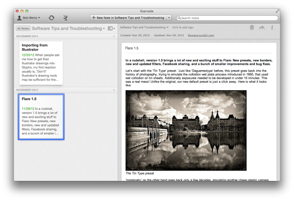 Screenshot of Evernote for the Mac