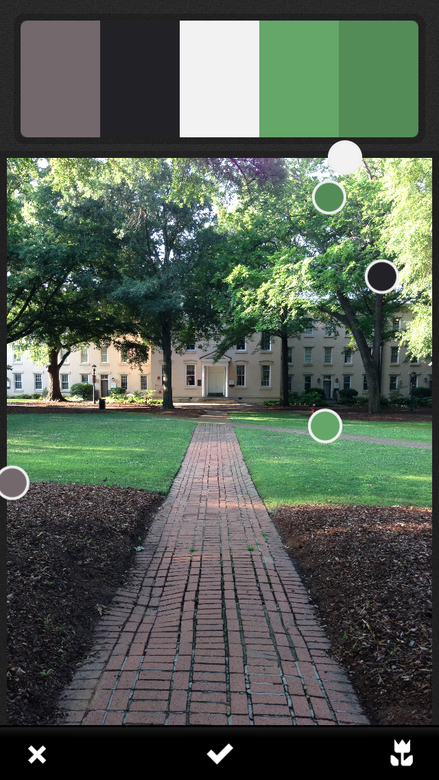 A screenshot of Adobe Kuler for iOS. Here, Kuler is selecting a color palette from a picture of Rutledge Chapel on the campus of the University of South Carolina.