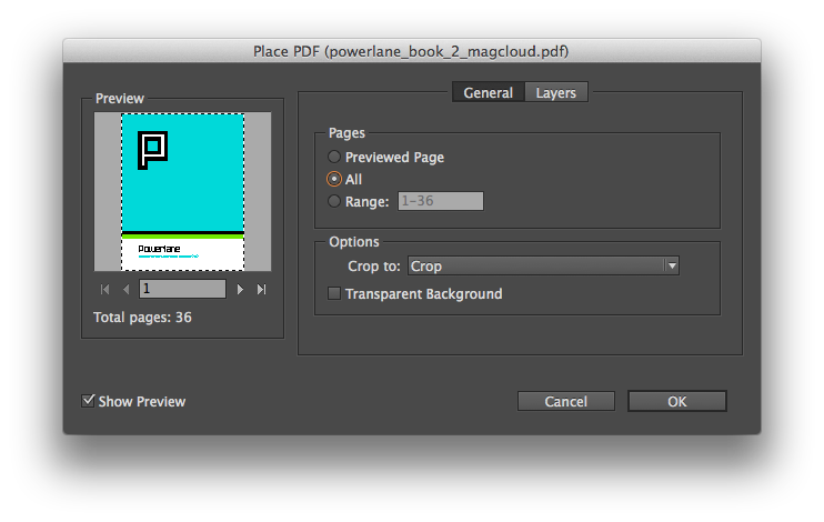 Import options for placing a PDF. Yes, you can place all the pages of a multipage PDF.