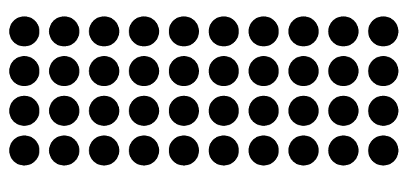 A grid of circles created using the arrow keys while drawing.