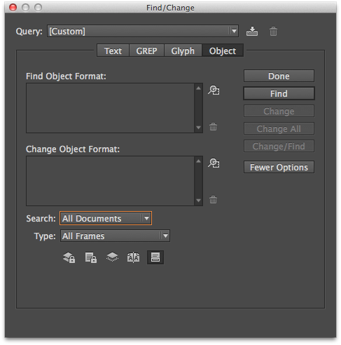 Using the Object tab in the Find/Change dialog box, you can restyle an entire document quickly.