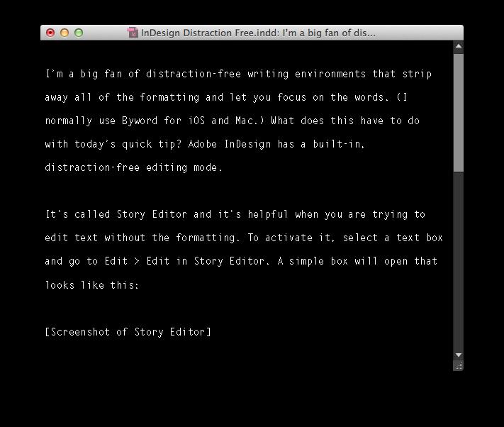 Slightly customized Story Editor.
