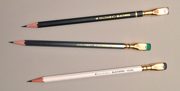 From top to bottom: Blackwing, Blackwing 602 with a green eraser And Blackwing Pearl