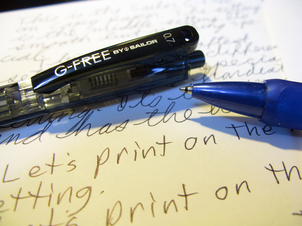 The ugly black ring on the nib and some ugly handwriting.