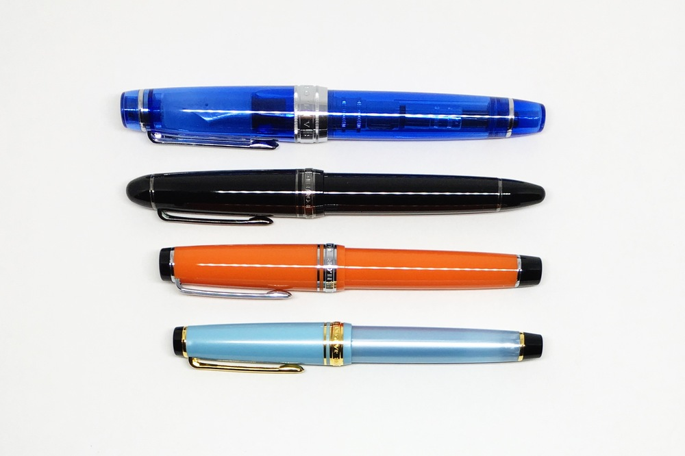 Bottom to top: Pro Gear Slim, Pro Gear, 1911, King of Pens