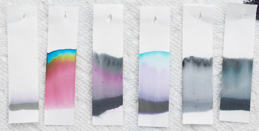 L to R: Kaweco Smokey Grey, Robert Oster Graphite, Kobe Mikage Grey, Papier Plume Oyster Grey, Akkerman Hofvijver Grijs, and Kobe Nagisa Museum Grey