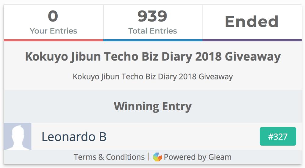 Kokuyo Jibun Techo Biz Diary 2018 Giveaway Winner