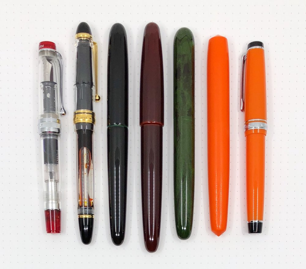 L to R: Aurora Optima, Pilot 823, Nakaya Portable, Wancher Dream Pen, Eboya Houga, Edison Pearl, Sailor Professional Gear