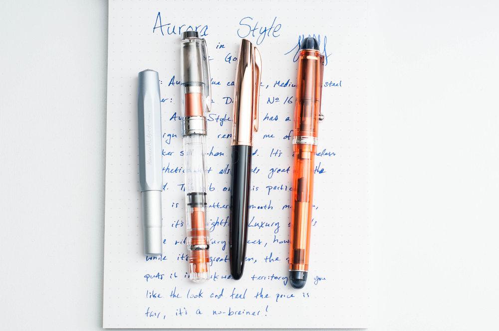 Aurora Style Rose Gold Fountain Pen Comparison