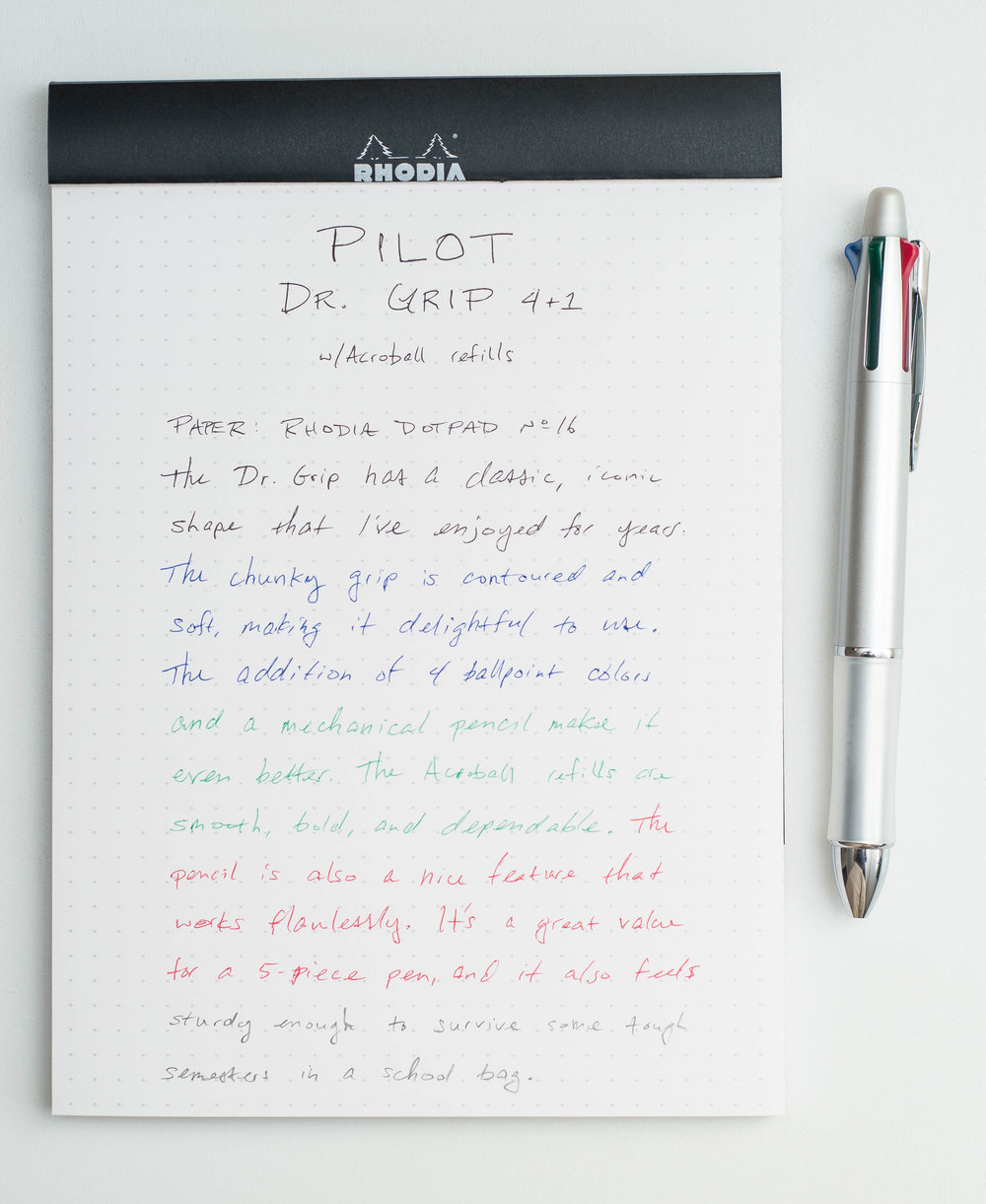Pilot Dr. Grip 4+1 4-Color Multi Pen Writing sample