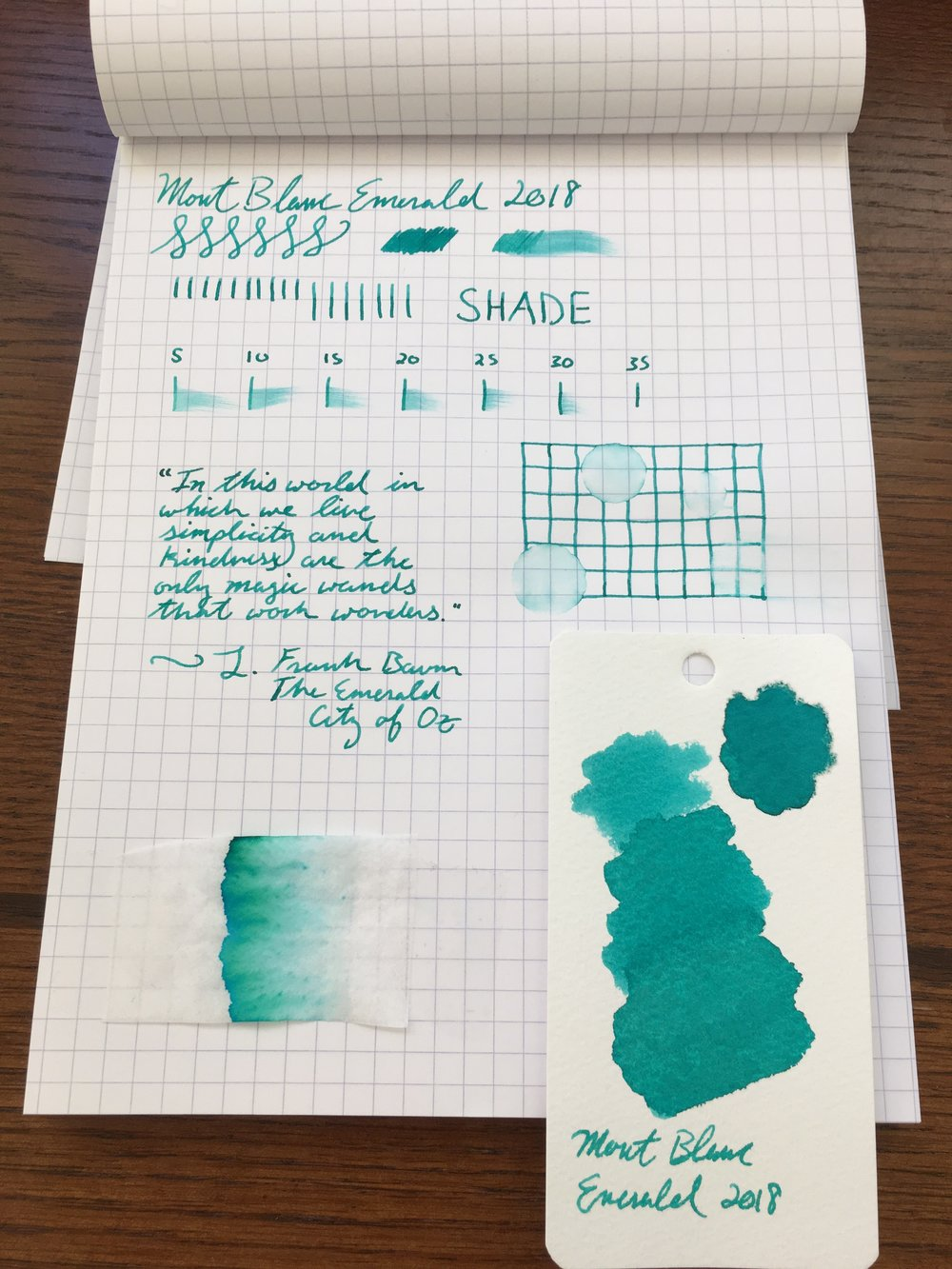 Montblanc Emerald Green Ink Test
