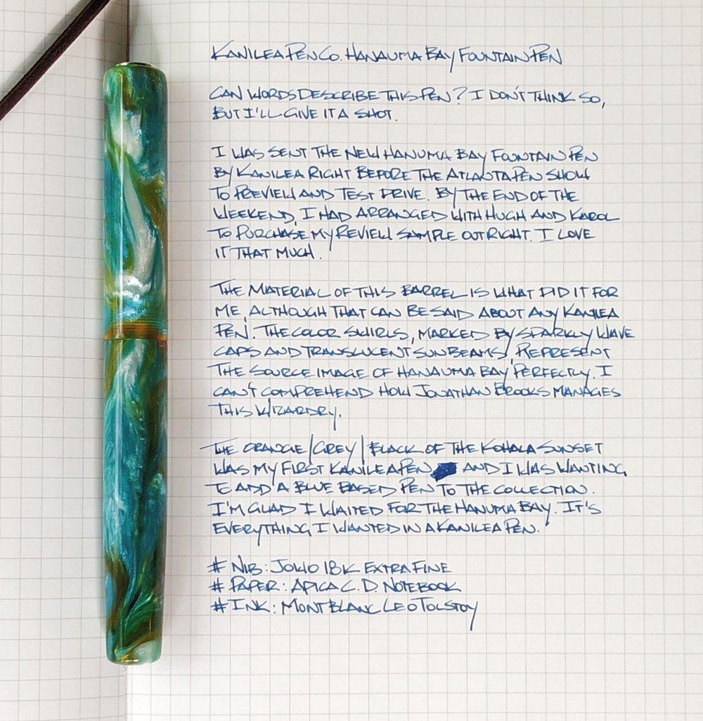 Kanilea Pen Co. Hanuma Bay Fountain Pen Writing