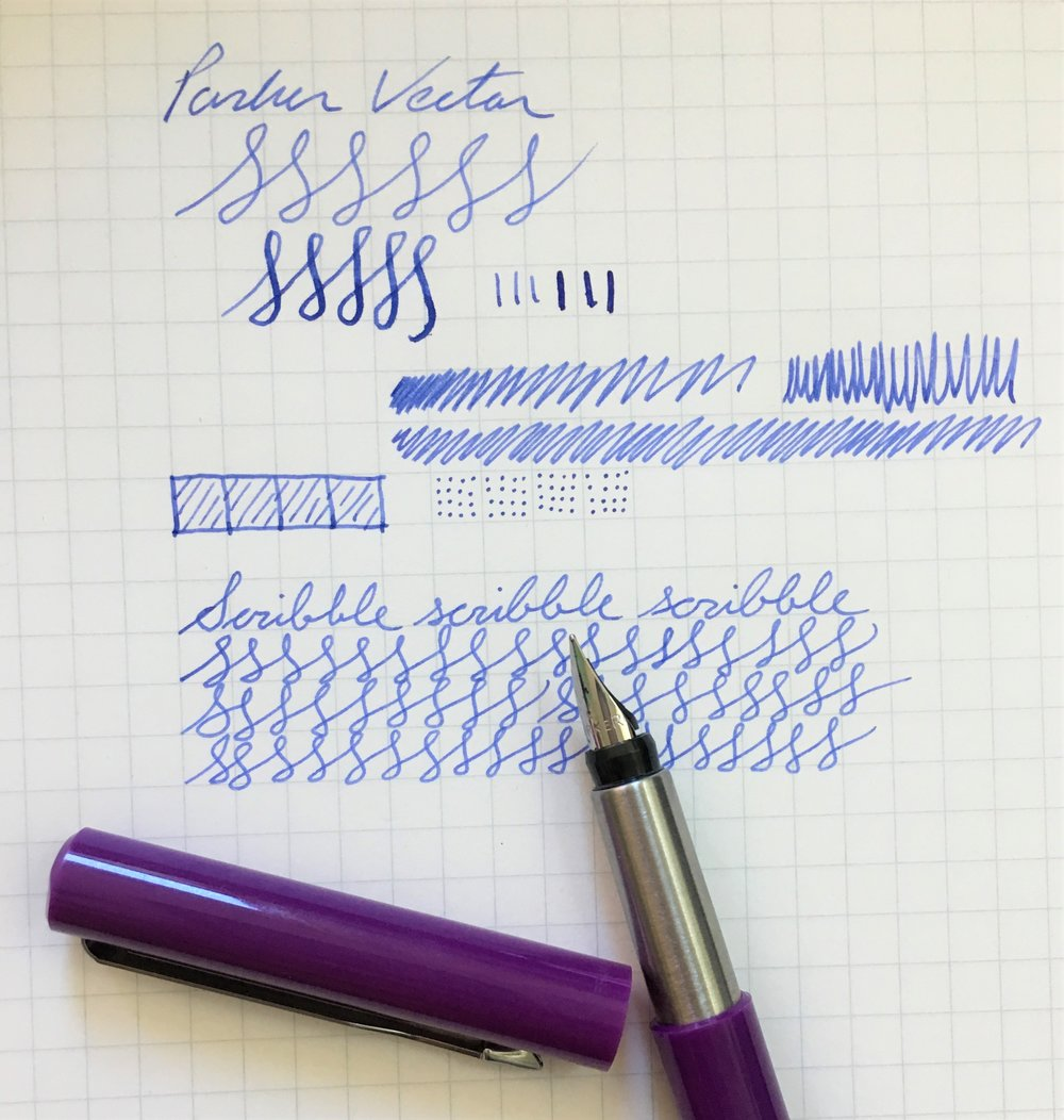 Parker Vector Fountain Pen Writing