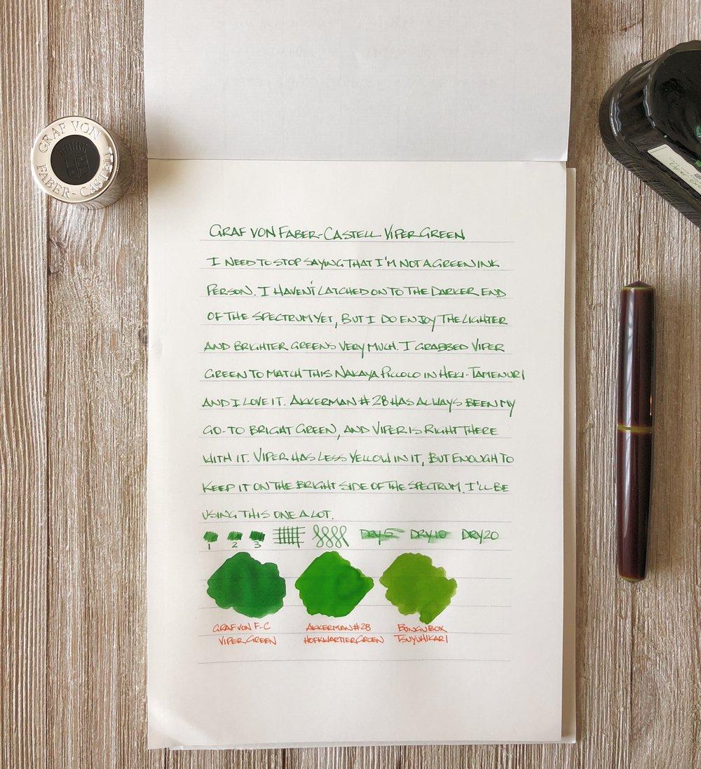 Graf von Faber Castell Viper Green Ink Sample