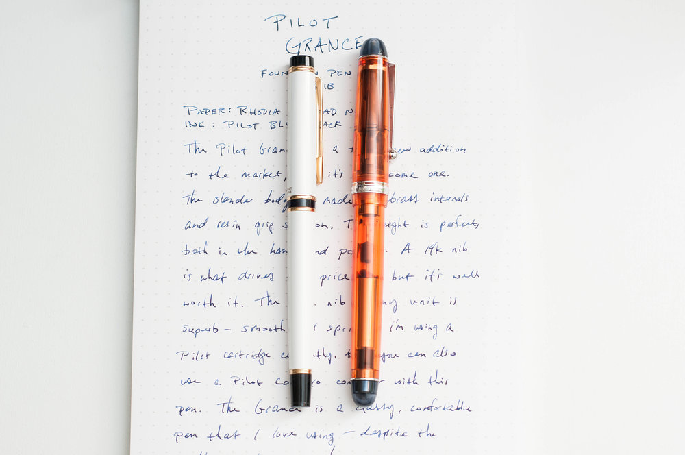 Pilot Grance Fountain Pen vs Custom 74