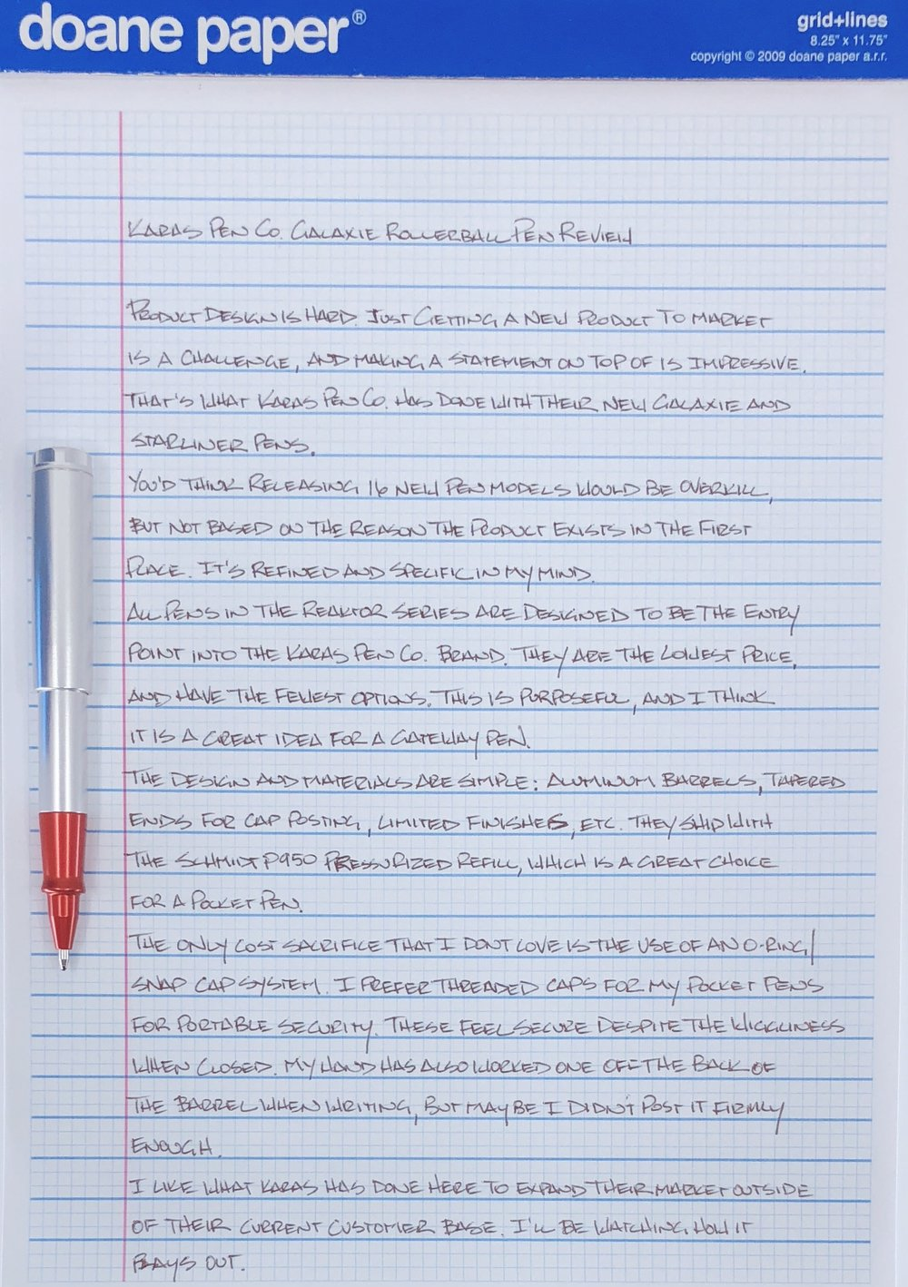 Karas Pen Co. Reaktor Galaxie Rollerball Writing