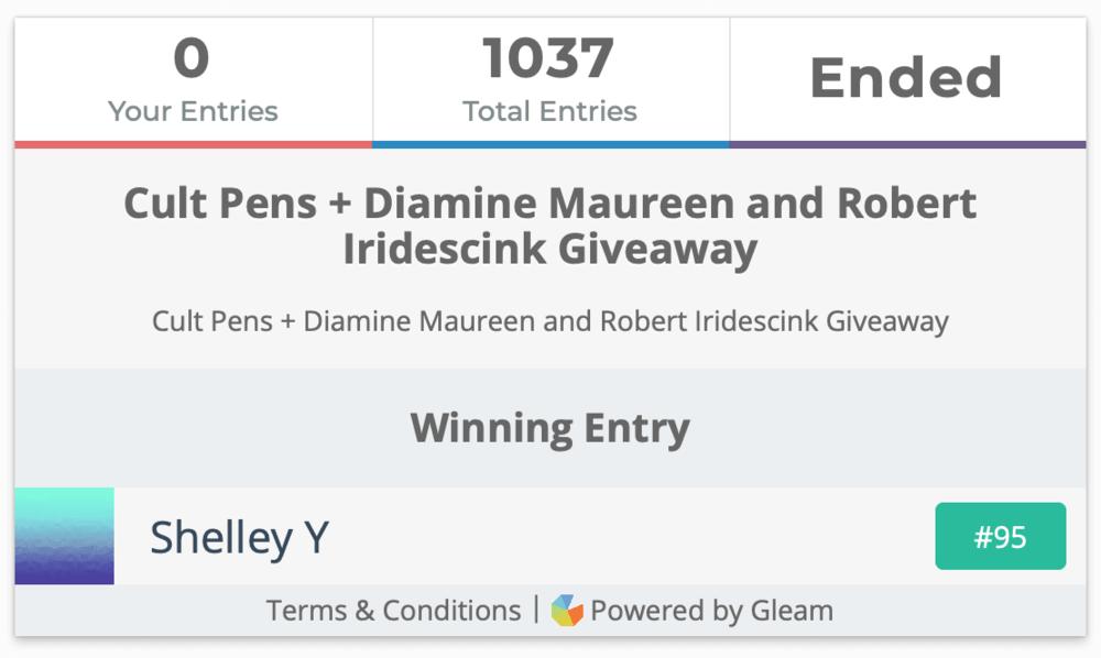 Cult Pens + Diamine Maureen and Robert Iridescink Giveaway Winner