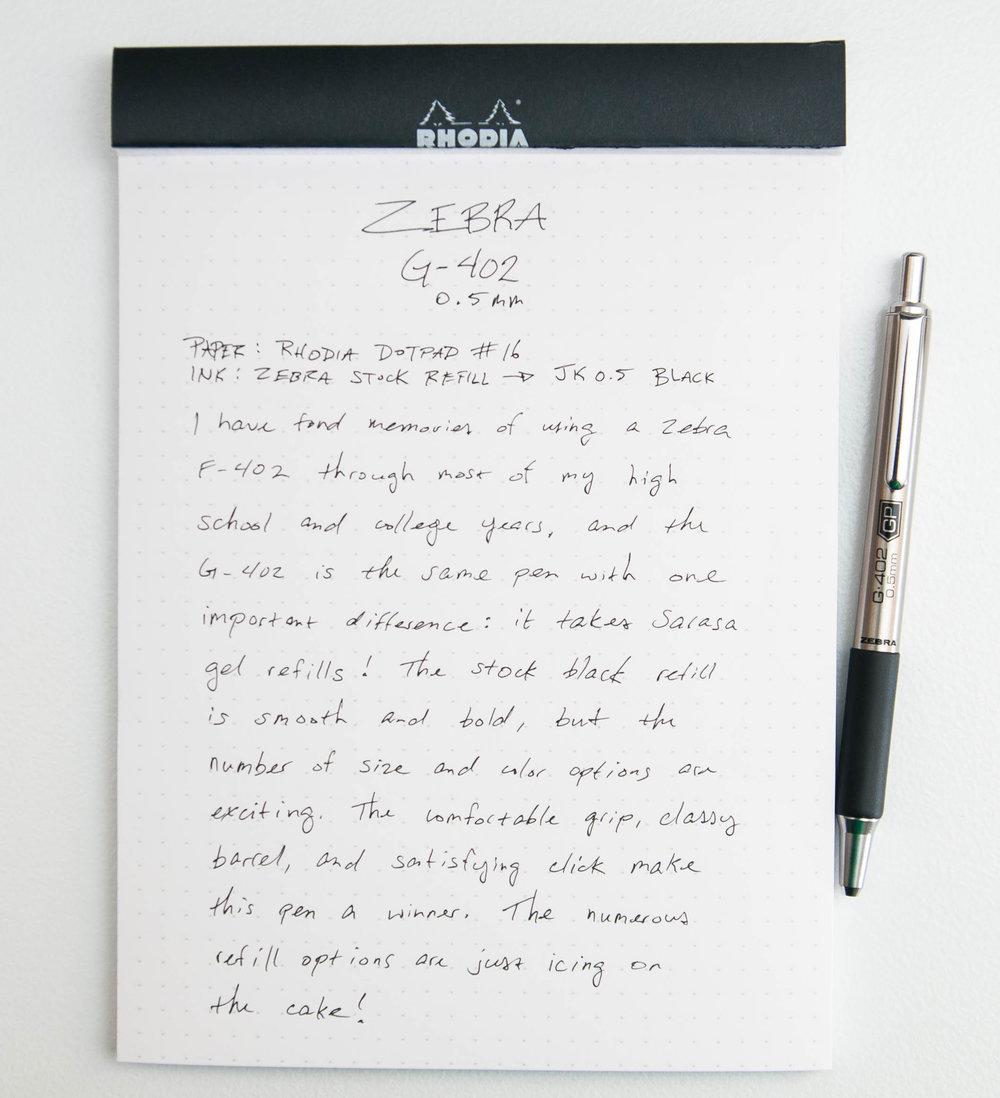Zebra G-402 0.5mm Gel Pen Writing