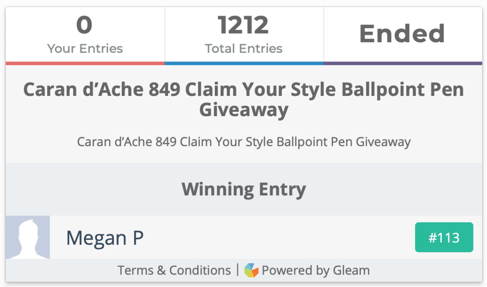 Caran d'Ache 849 Claim Your Style Ballpoint Pen Giveaway Winner