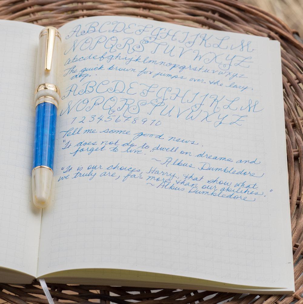 Laban Ocean Blue Fountain Pen Writing