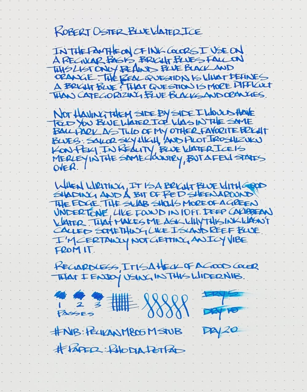 Robert Oster Blue Water Ice Writing