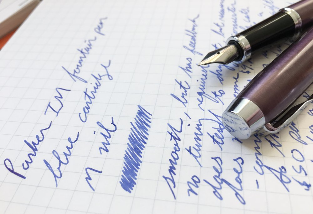 Parker IM Fountain Pen Writing