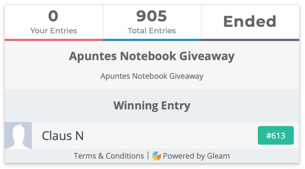 Apuntes Notebook Giveaway