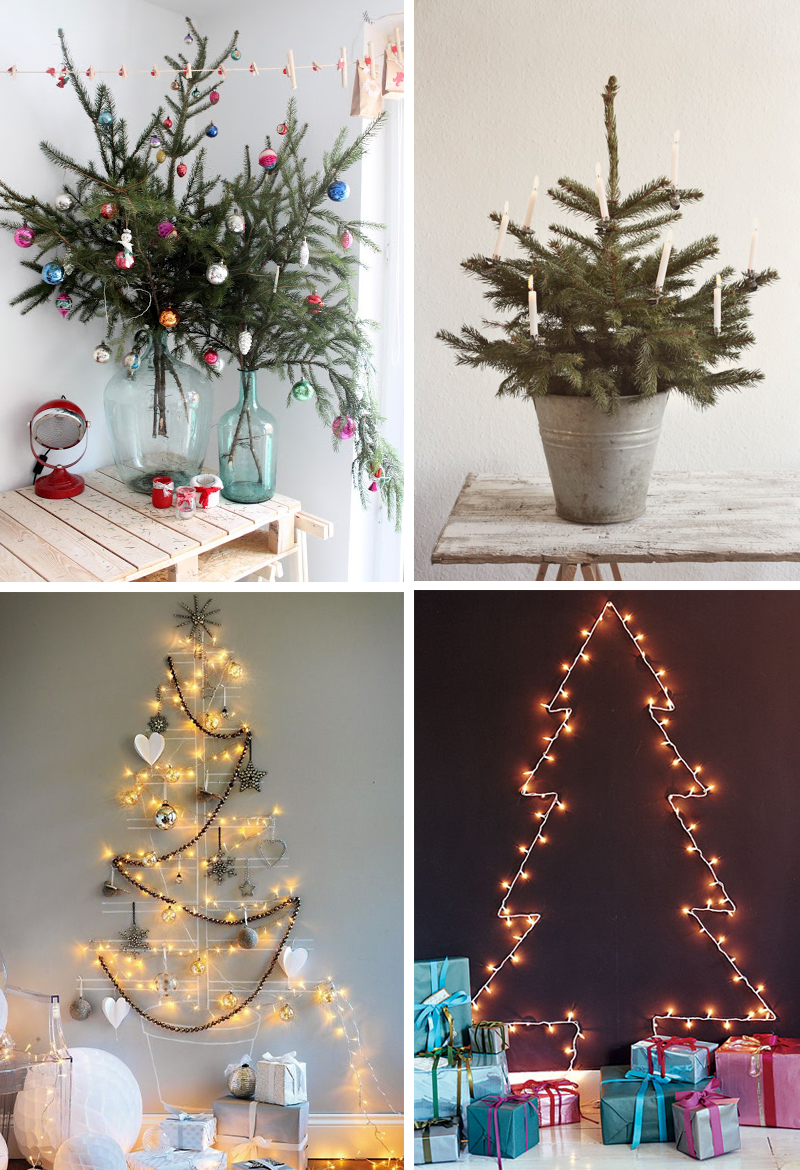 1. Pine Branches in a Vase  2. Simple Table Tree  3. Washi Tape Tree  4. Tree of Lights
