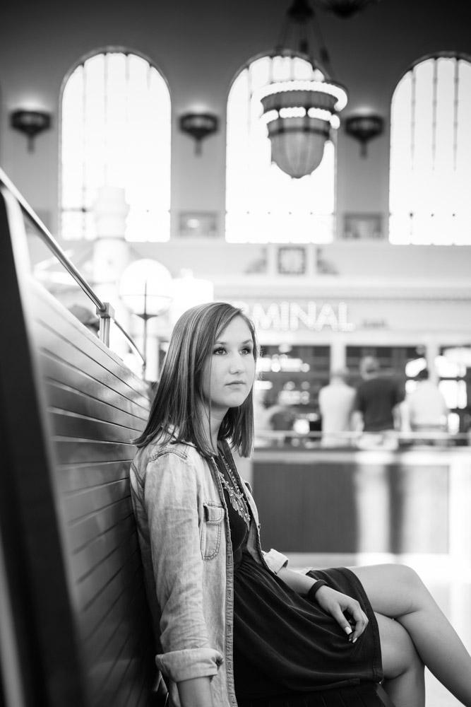 Senior portraits at Union Station, Denver, CO