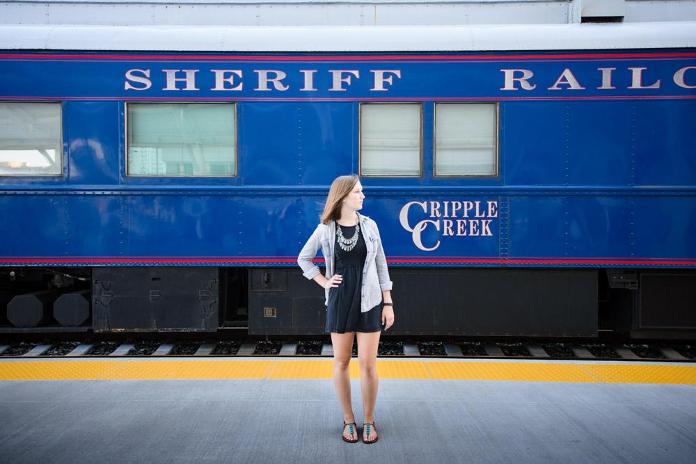 Train senior portraits at Union Station