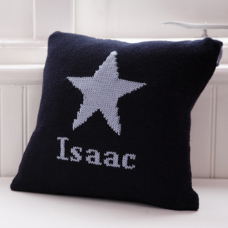 personalised knitted star cushion