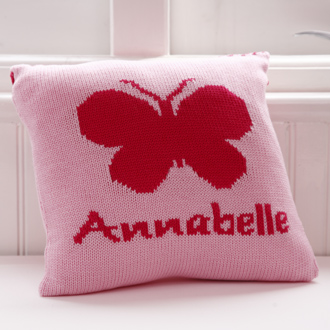 personalised knitted butterfly cushion