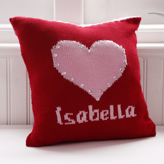 personalised knitted heart cushion