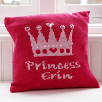 personalised knitted crown cushion