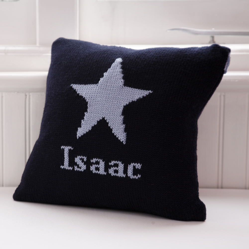 boys personalised knitted cushions