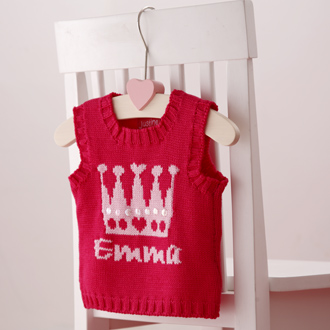 personalised knitted crown tank top