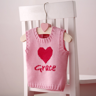 personalised knitted heart tank top