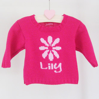 personalised knitted flower jumper
