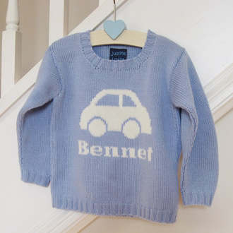 personalised knitted car jumper