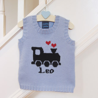 personalised boys knitted train tank top