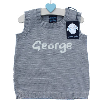 personalised boys knitted name tank top