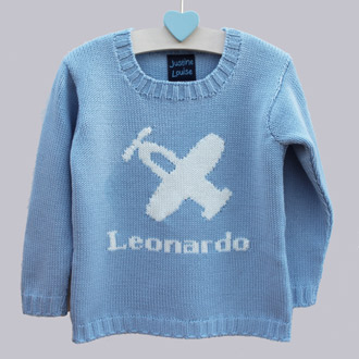personalised knitted plane jumper