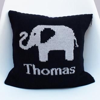 personalised knitted elephant cushion