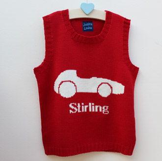 personalised boys knitted racing car tank top