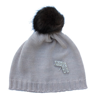 girls knitted beanie with faux fur pompom