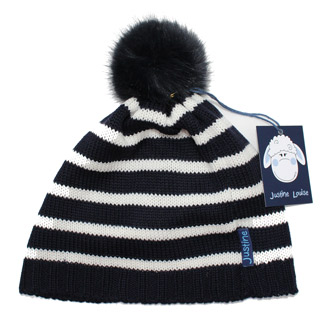 girls stripy merino wool knitted beanie